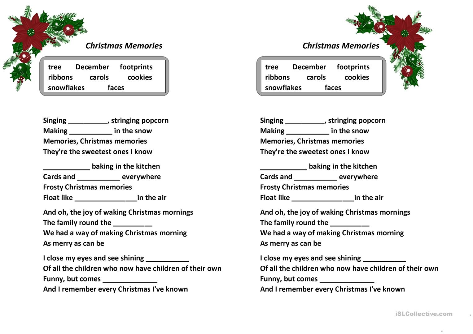 Song Christmas Memories Frank Sinatra Worksheet