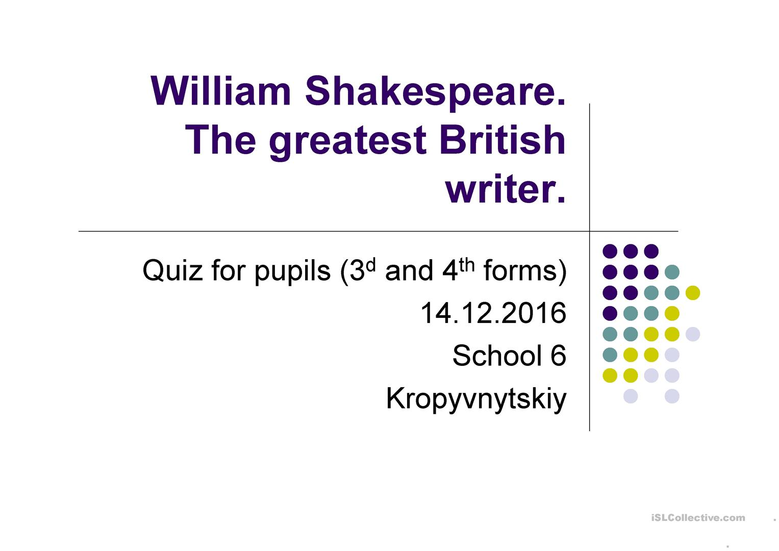 William Shakespeare Quiz For 3d 4th Formers