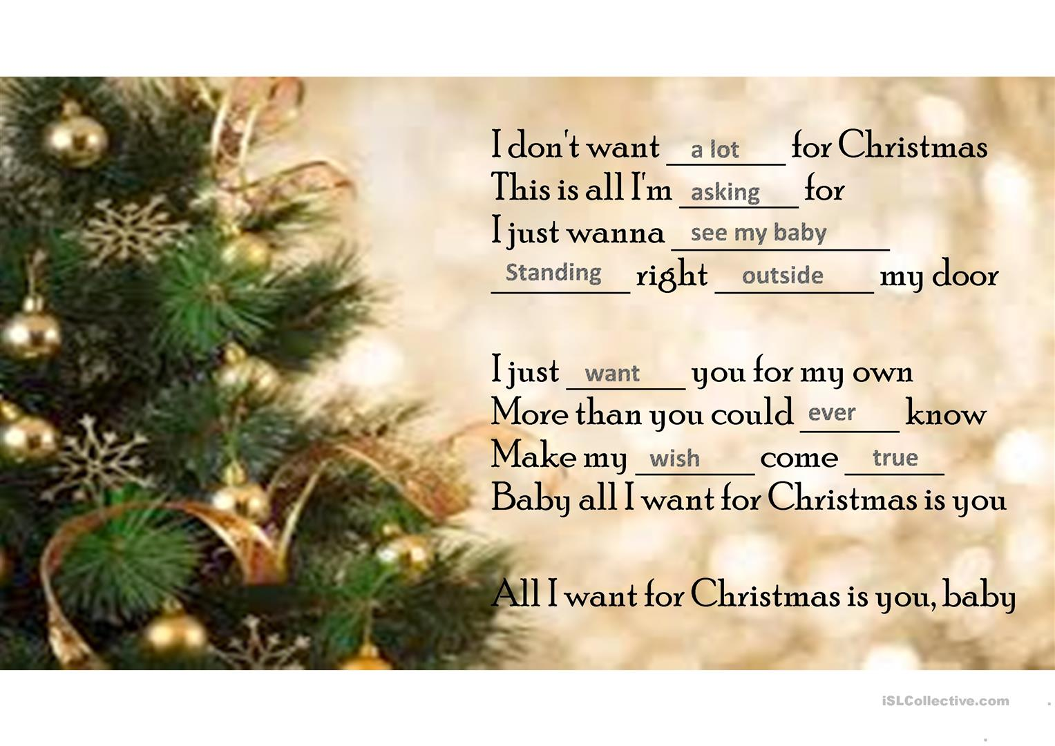 All I Want For Christmas Is You Worksheet