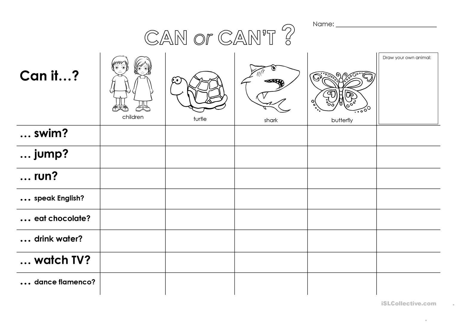 Can Or Can T Worksheet