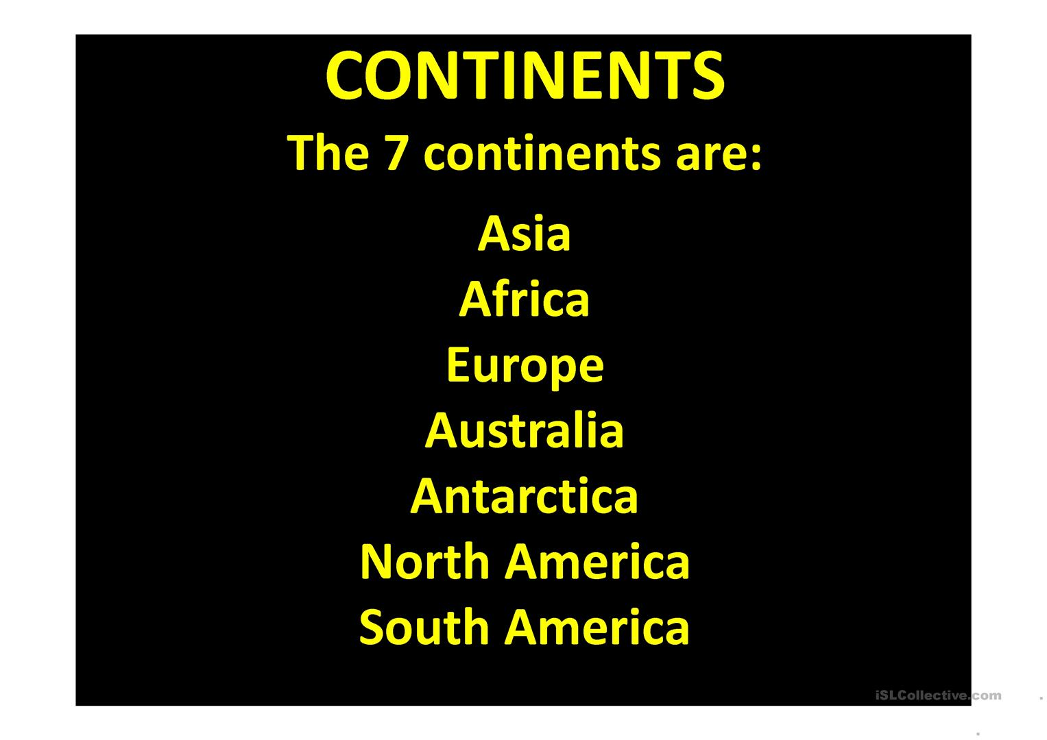 Continents Countries And Flags Worksheet