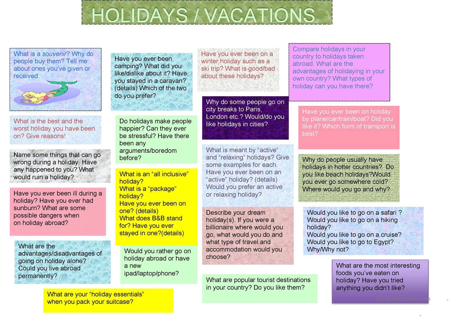 Holidays And Travel Discussion Questions
