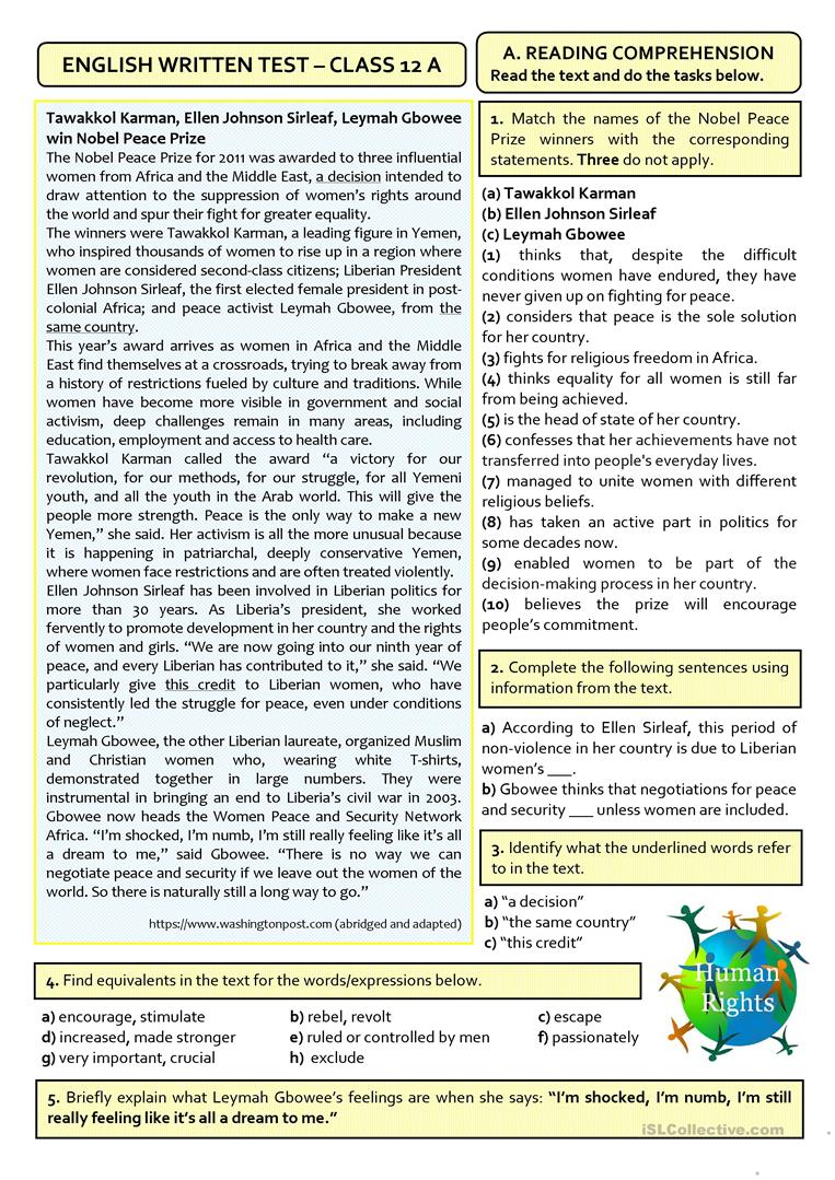 hight resolution of HUMAN RIGHTS - B2/C1TEST (12th grade) - English ESL Worksheets for distance  learning and physical classrooms
