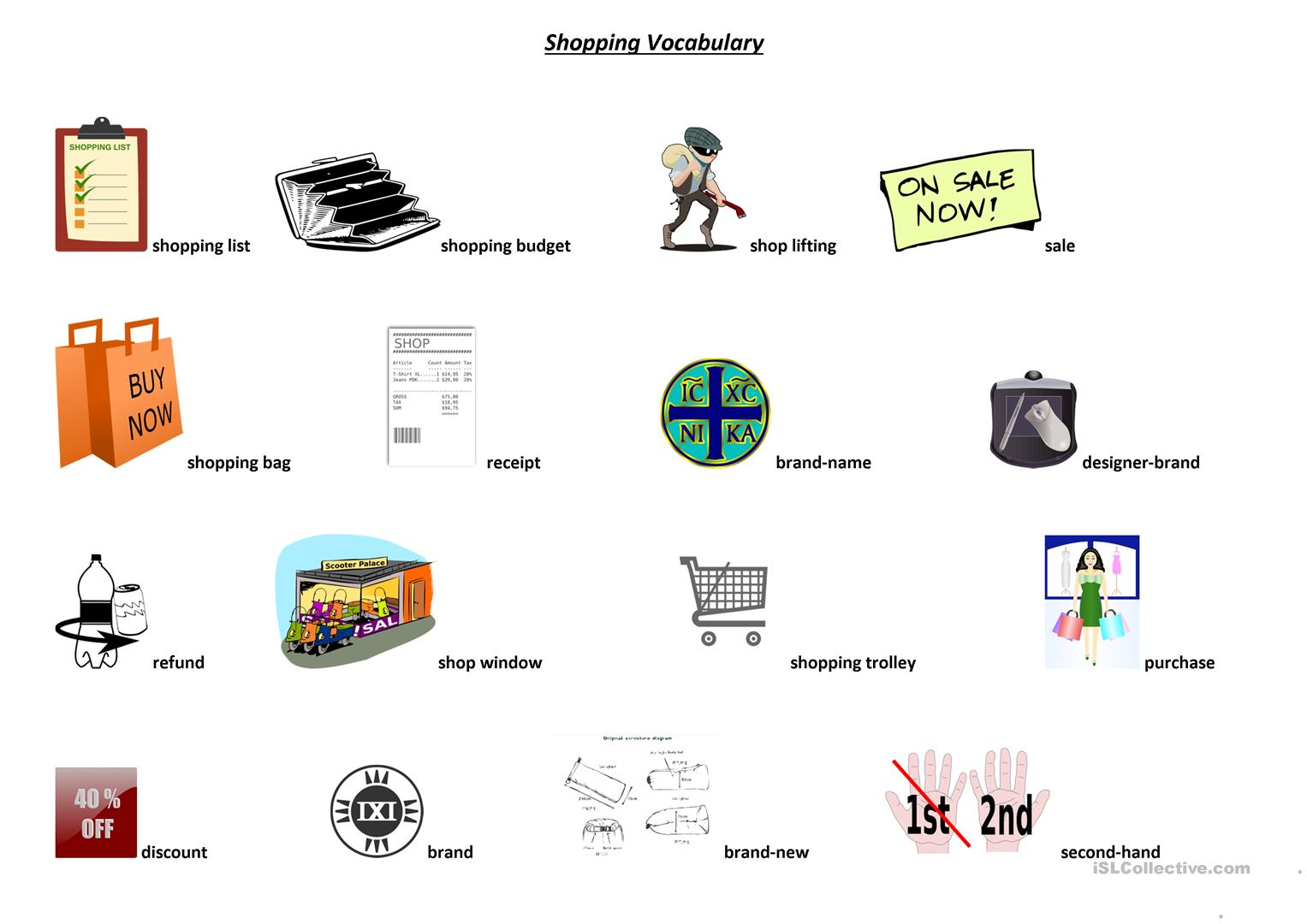 Shopping Vocabulary Worksheet