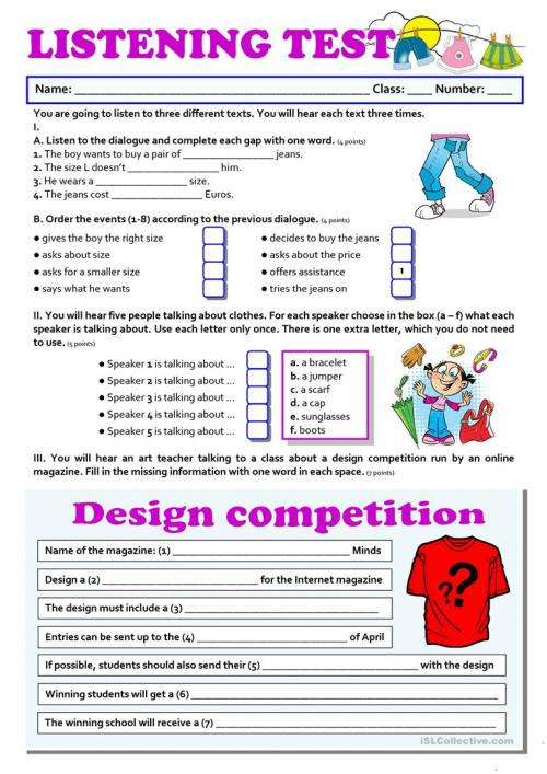 small resolution of CLOTHES - listening - English ESL Worksheets for distance learning and  physical classrooms