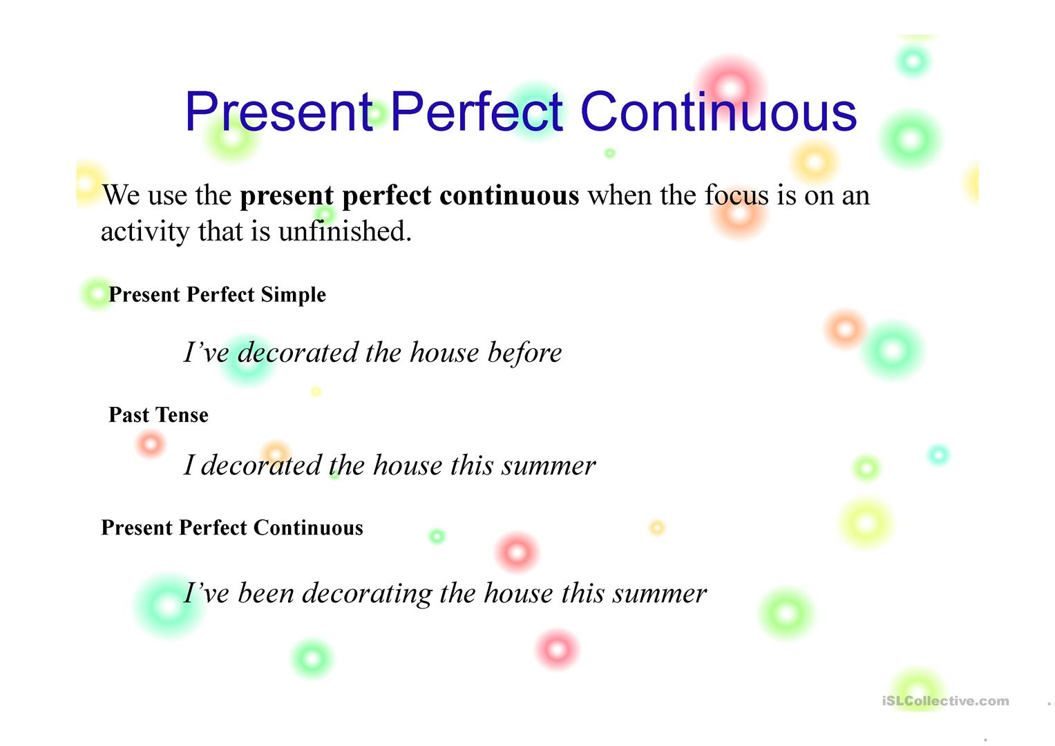 Examples Of Present Perfect Continuous Tense Sentences