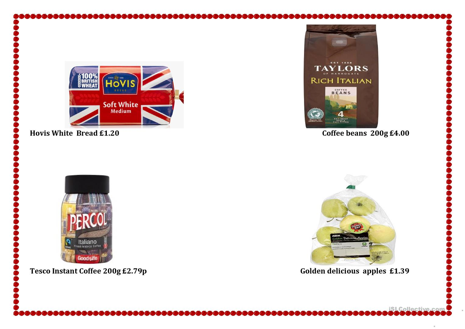 Grocery Shopping And British Currency Vocabulary