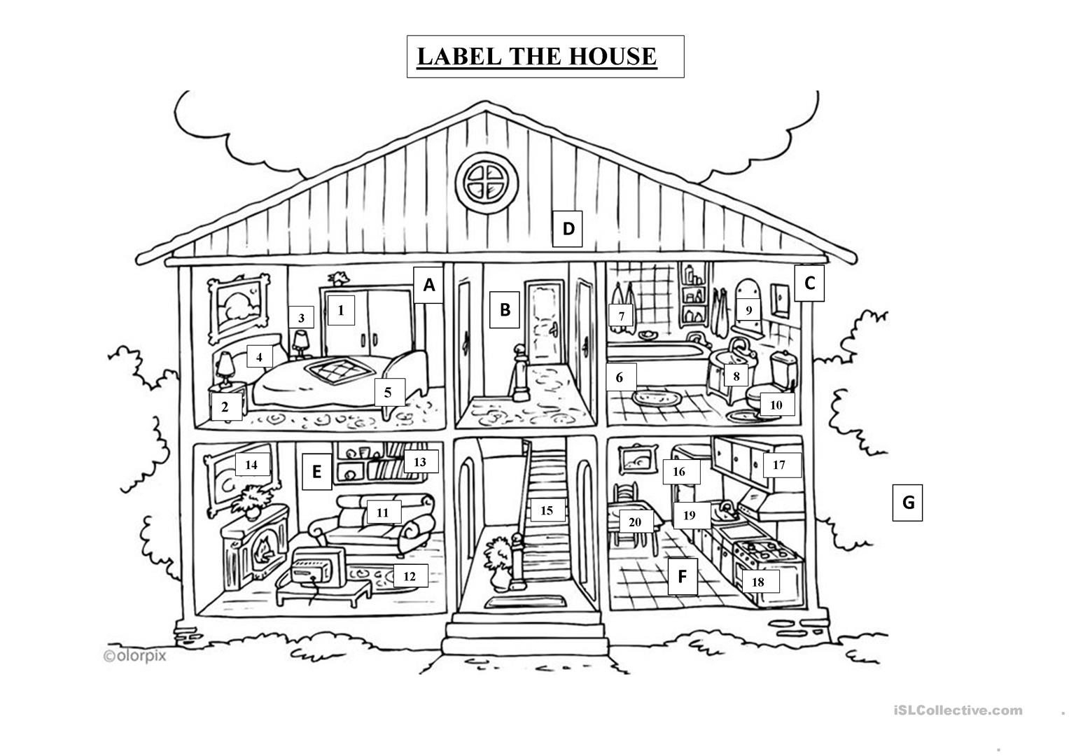 Home Objects Worksheet Label