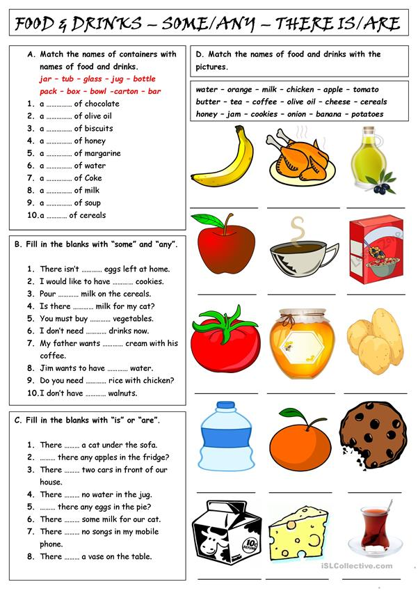 FOOD & DRINKS - SOME & ANY - THERE IS/ARE - English ESL Worksheets for distance learning and physical classrooms