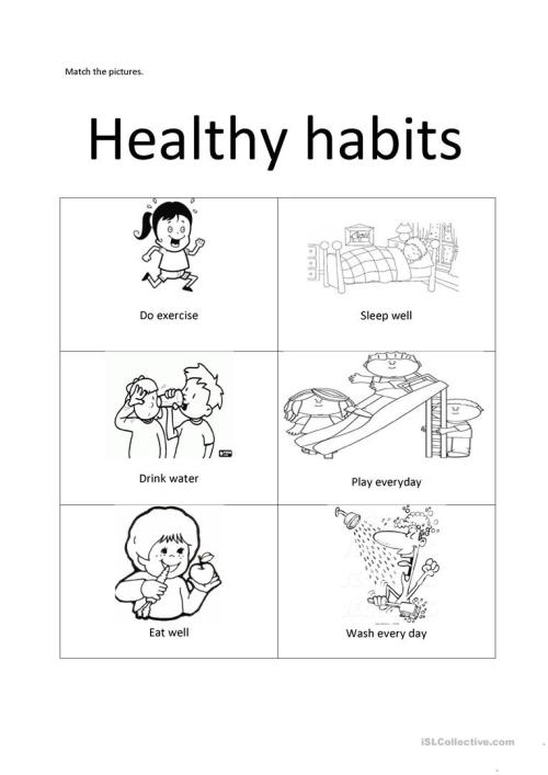 small resolution of Healthy habits - English ESL Worksheets for distance learning and physical  classrooms