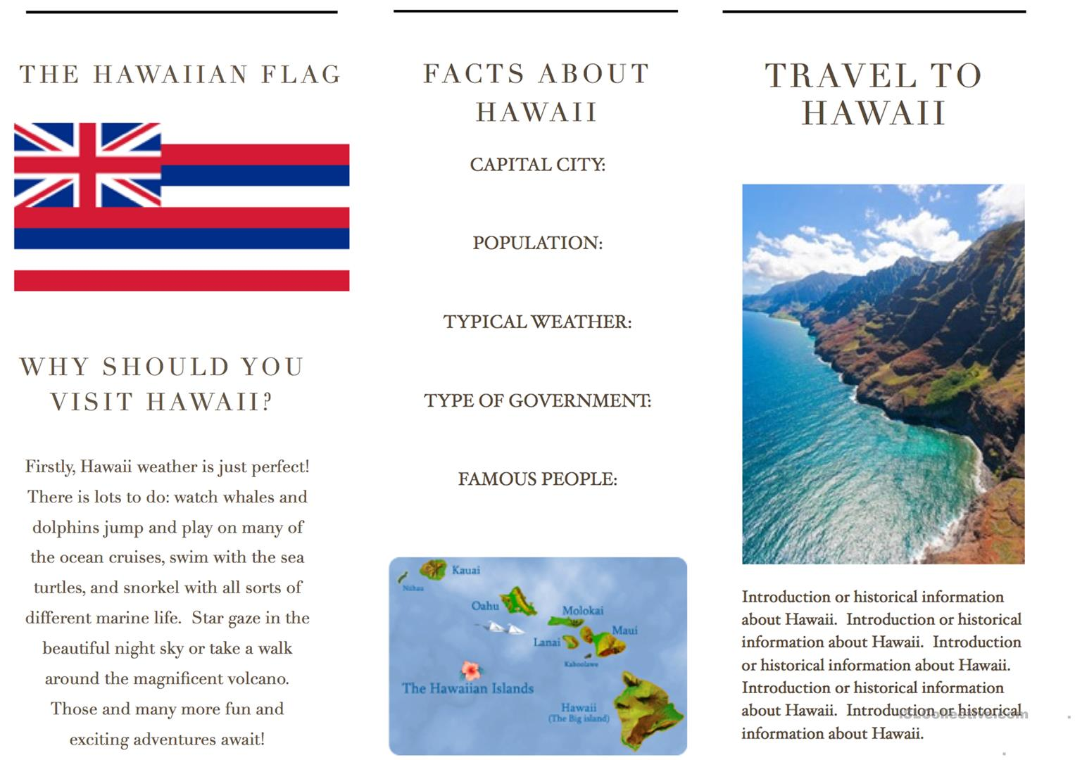Travel Brochure Template And Example Brochure Worksheet Free Esl