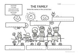 1 FREE ESL family for kids worksheets