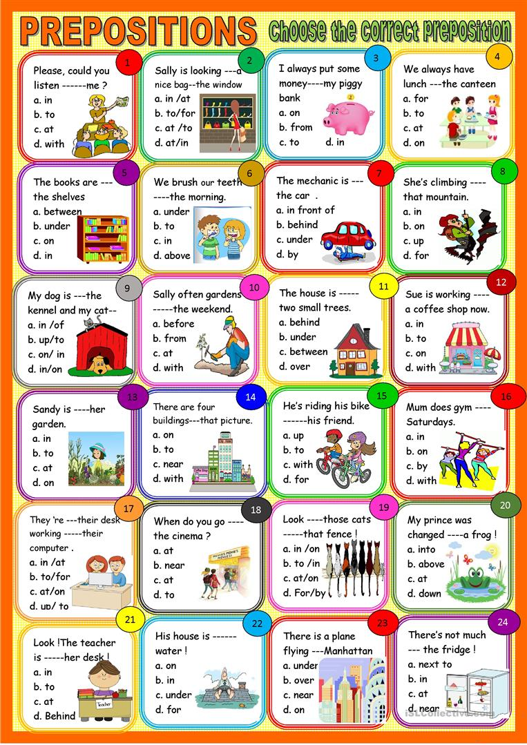 All Types Of Prepositions Multiple Choice
