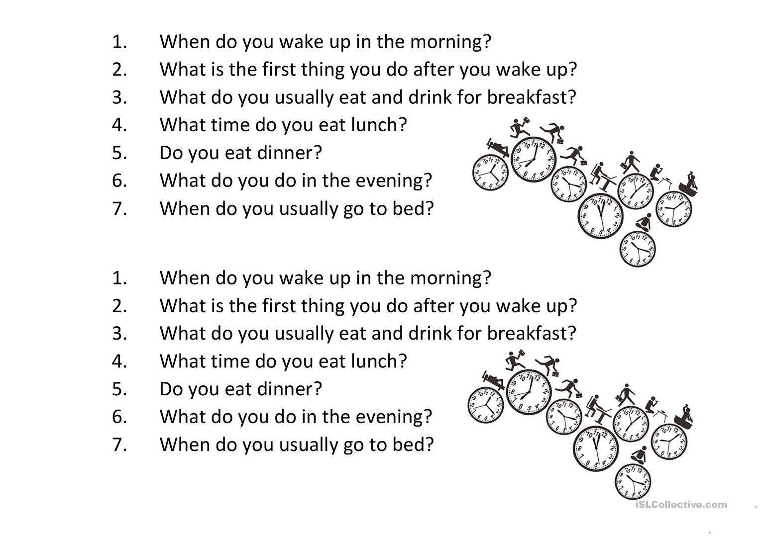 Daily Routine Questions Basic Worksheet