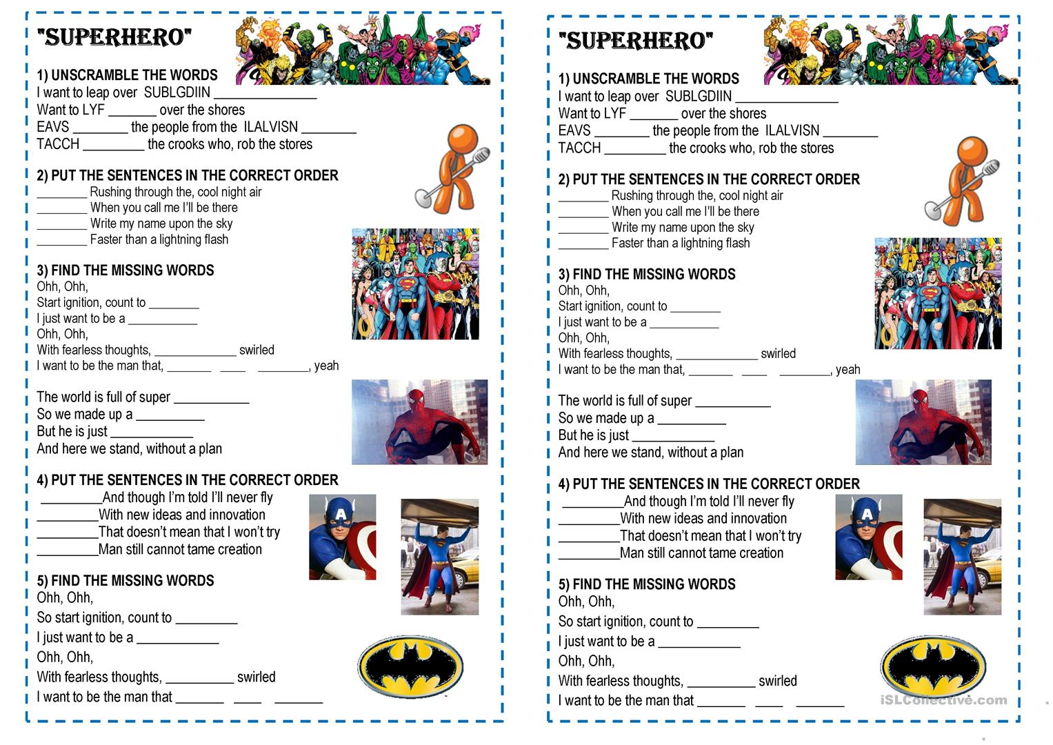 I Just Want To Be A Superhero Song Marvel Worksheet