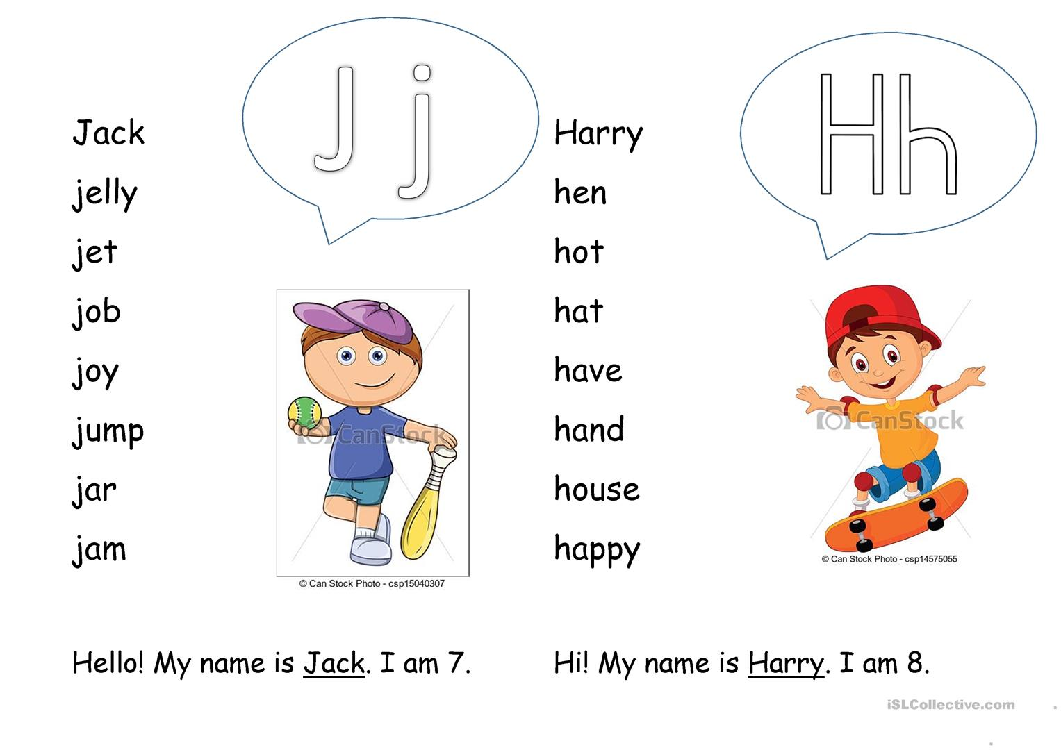 Letters H And J