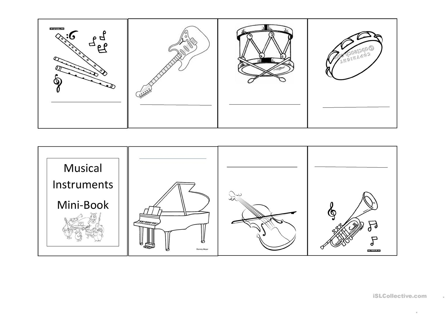 Musical Instruments Worksheets Printable
