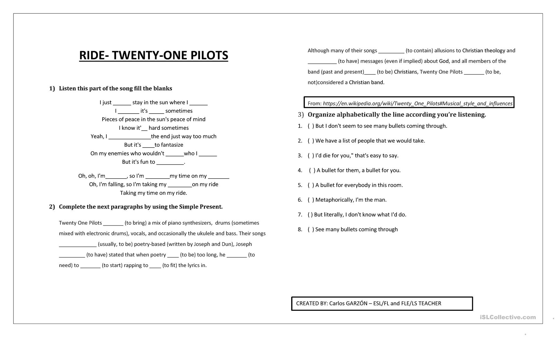 Ride Twenty One Pilots Worksheet