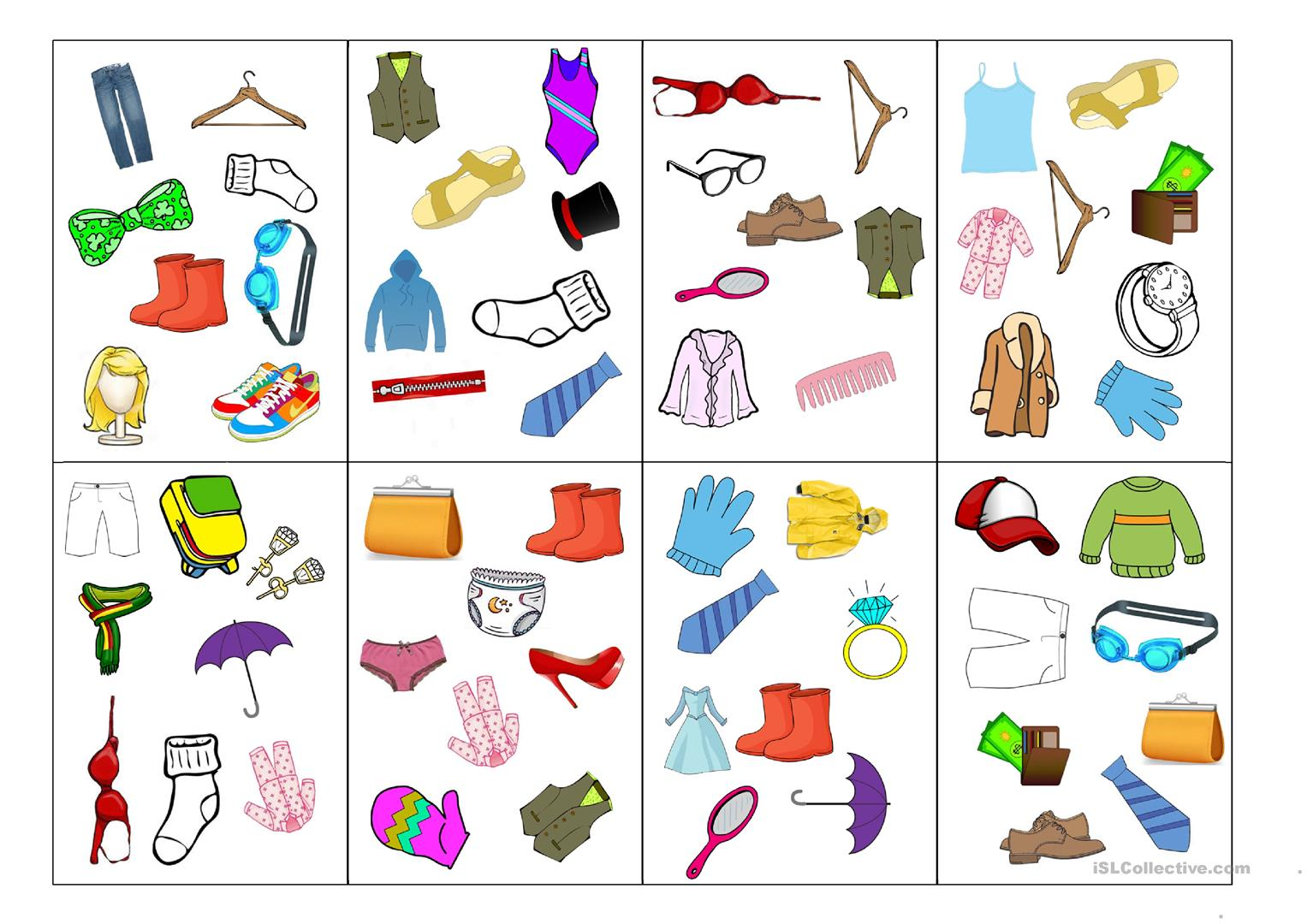 Spot It Card Game Clothes Worksheet