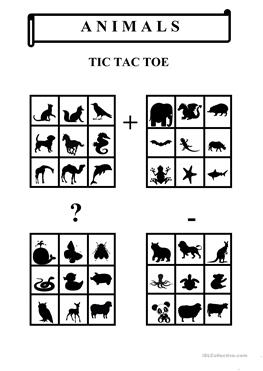 14 FREE ESL tic tac toe worksheets