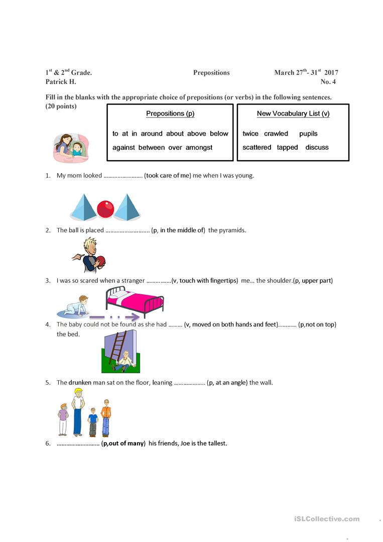 medium resolution of Preposition and Vocabulary Worksheet - English ESL Worksheets for distance  learning and physical classrooms