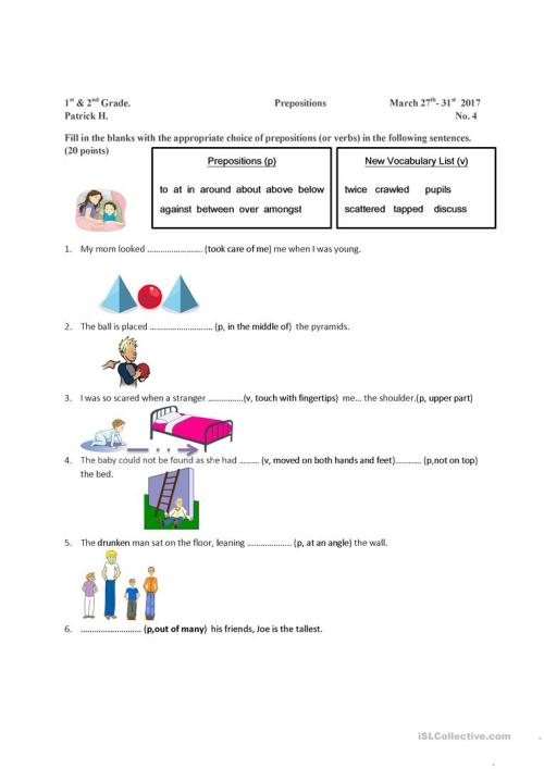 small resolution of Preposition and Vocabulary Worksheet - English ESL Worksheets for distance  learning and physical classrooms
