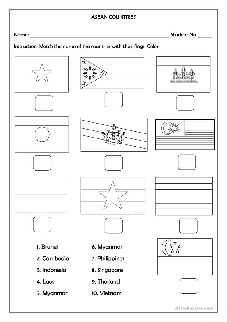 hight resolution of ASEAN Countries - English ESL Worksheets for distance learning and physical  classrooms