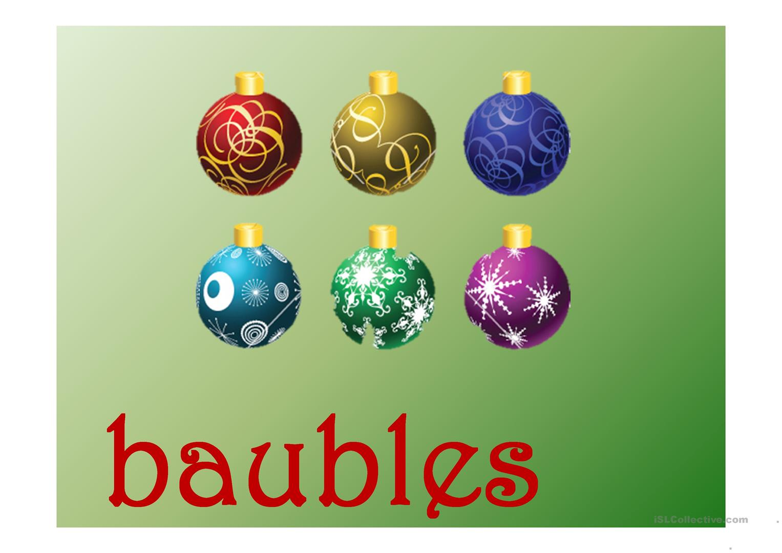 Christmas Vocabulary Present Continuous