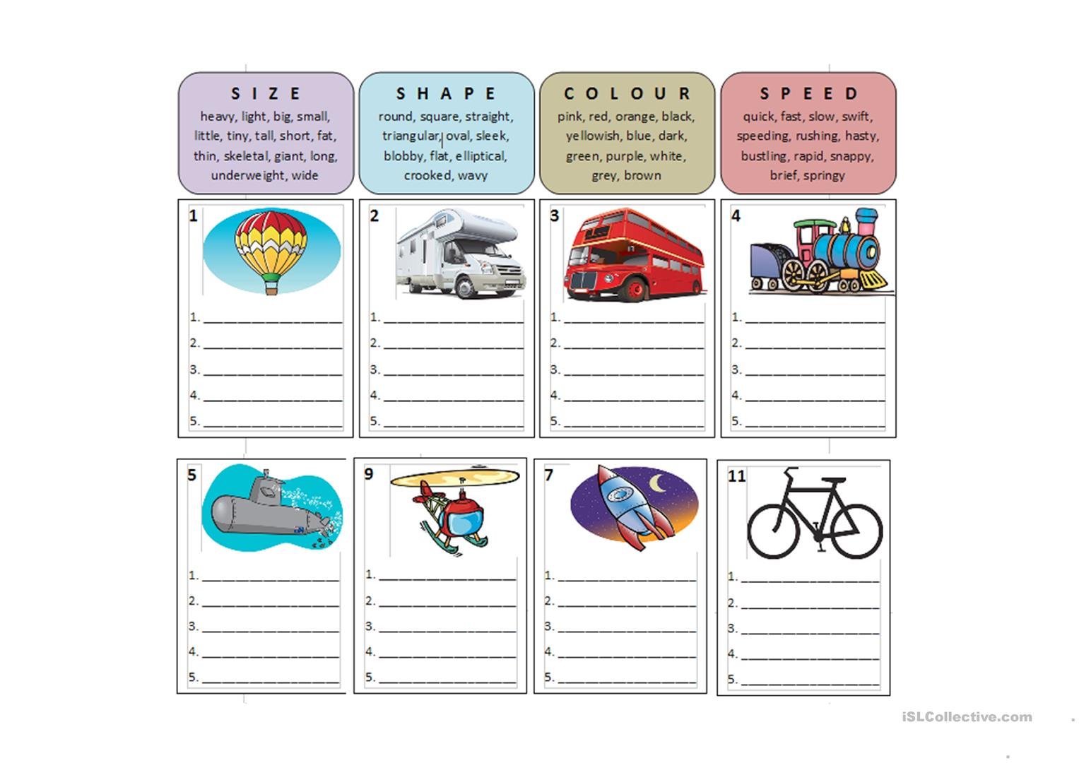 Transport Speaking Activities Worksheet