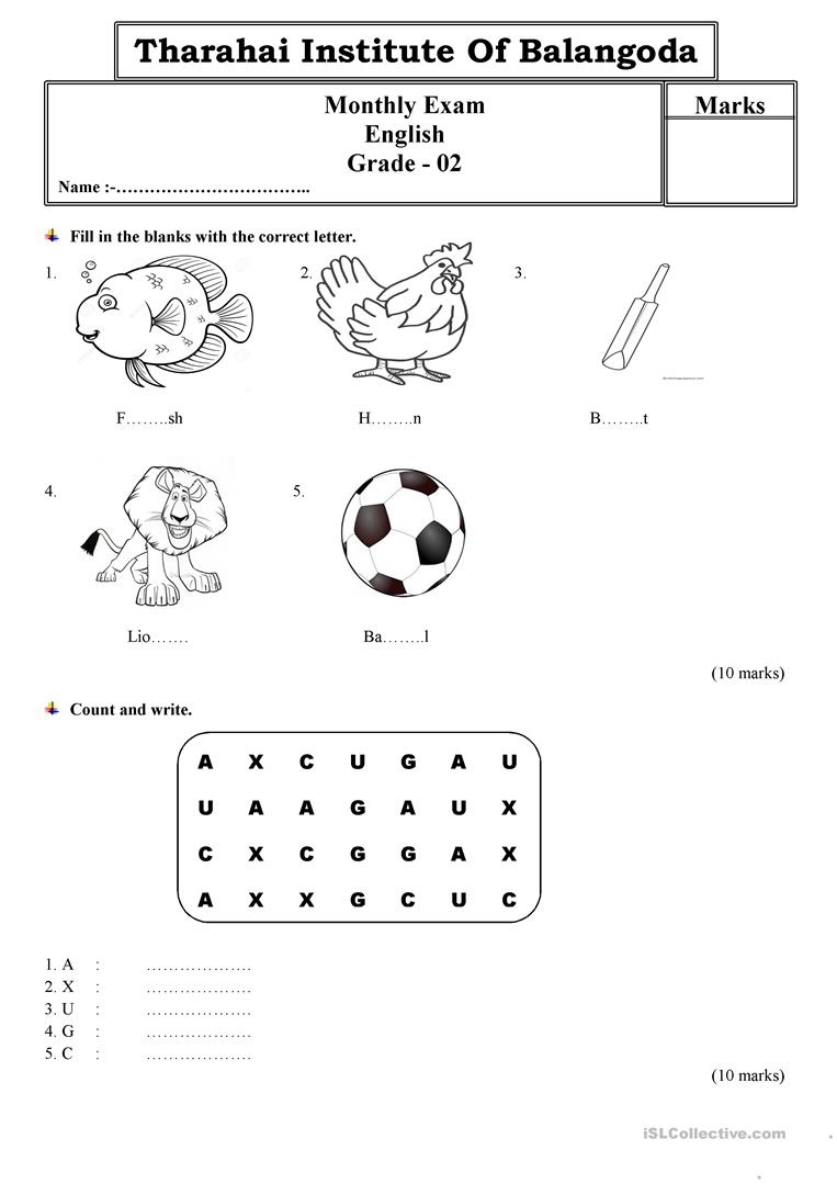 hight resolution of Grade 2 monthly test paper by Tharahai Institution - English ESL Worksheets  for distance learning and physical classrooms