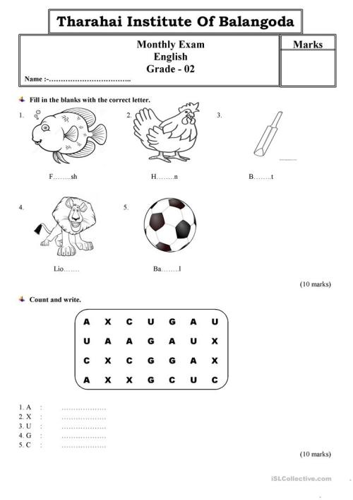 small resolution of Grade 2 monthly test paper by Tharahai Institution - English ESL Worksheets  for distance learning and physical classrooms