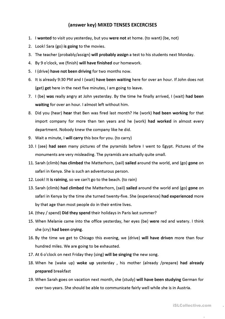 hight resolution of Mixed Tenses Excercises - English ESL Worksheets for distance learning and  physical classrooms
