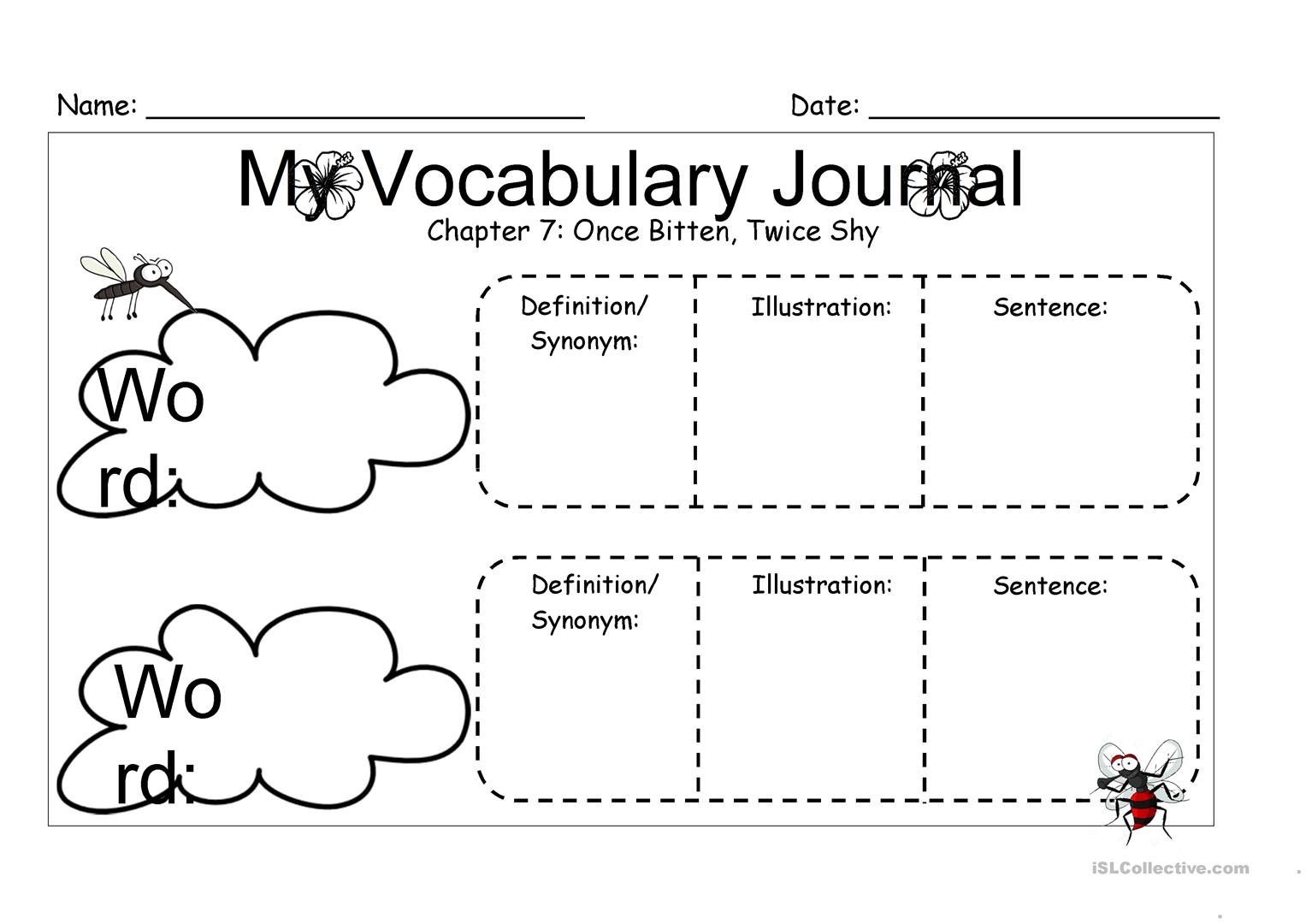 My Vocabulary Journal Worksheet