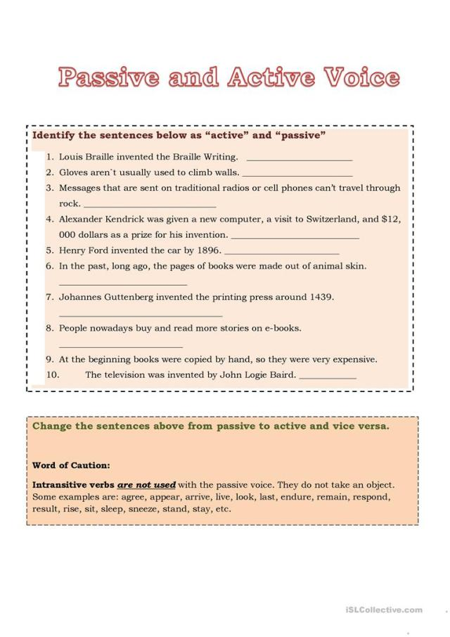 Passive and Active Voice - English ESL Worksheets for distance