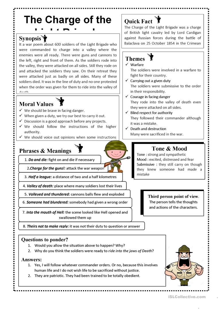 hight resolution of The Charge Of Light Brigade By Alfred Lord Tennyson - English ESL Worksheets  for distance learning and physical classrooms