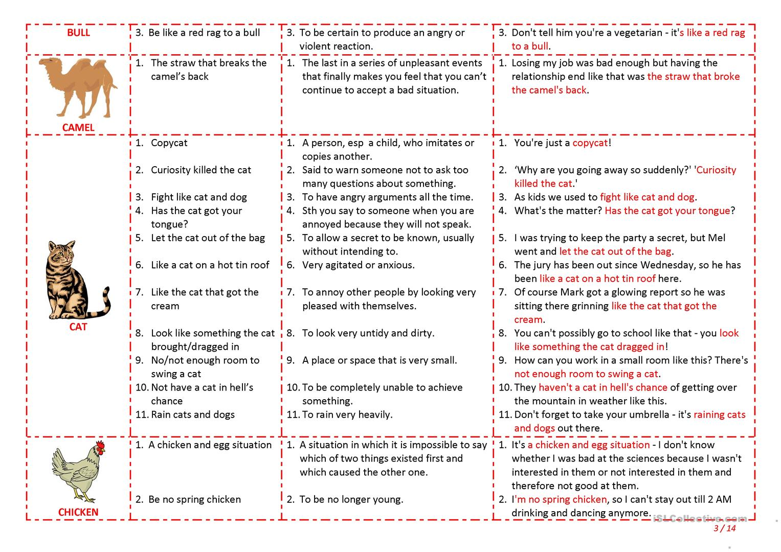 Worksheet English Idioms