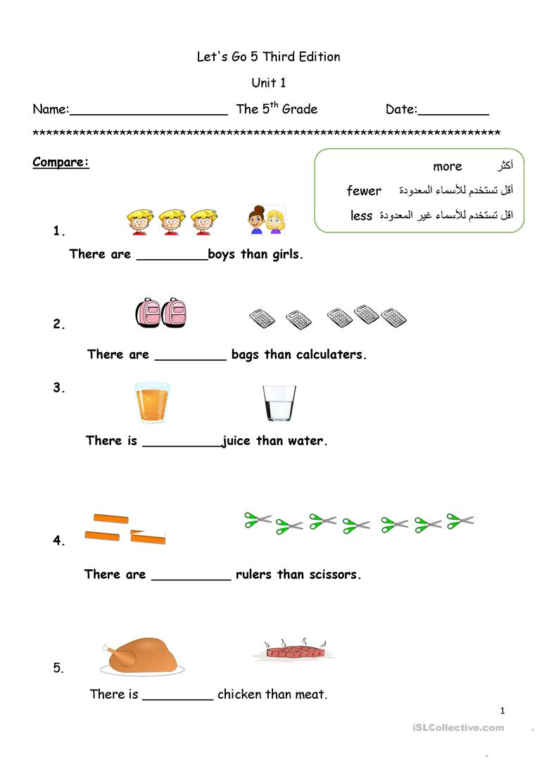 medium resolution of countable and non countable nouns comparison more fewer less - English ESL  Worksheets for distance learning and physical classrooms