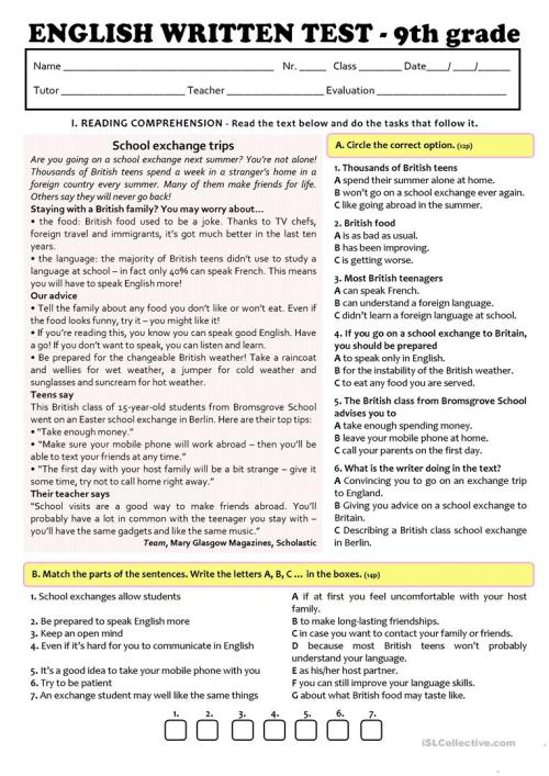 small resolution of EXCHANGE PROGRAMMES - TEST A2/B1 (9th grade) version A - English ESL  Worksheets for distance learning and physical classrooms