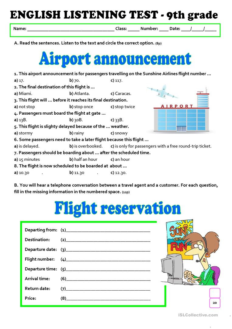 hight resolution of LISTENING TEST - AT THE AIRPORT (A2/B1) - 9th grade - English ESL Worksheets  for distance learning and physical classrooms
