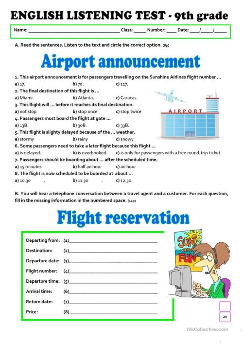 small resolution of LISTENING TEST - AT THE AIRPORT (A2/B1) - 9th grade - English ESL Worksheets  for distance learning and physical classrooms
