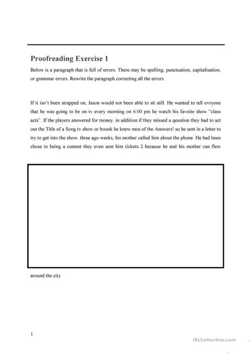 small resolution of Proofreading WS - English ESL Worksheets for distance learning and physical  classrooms