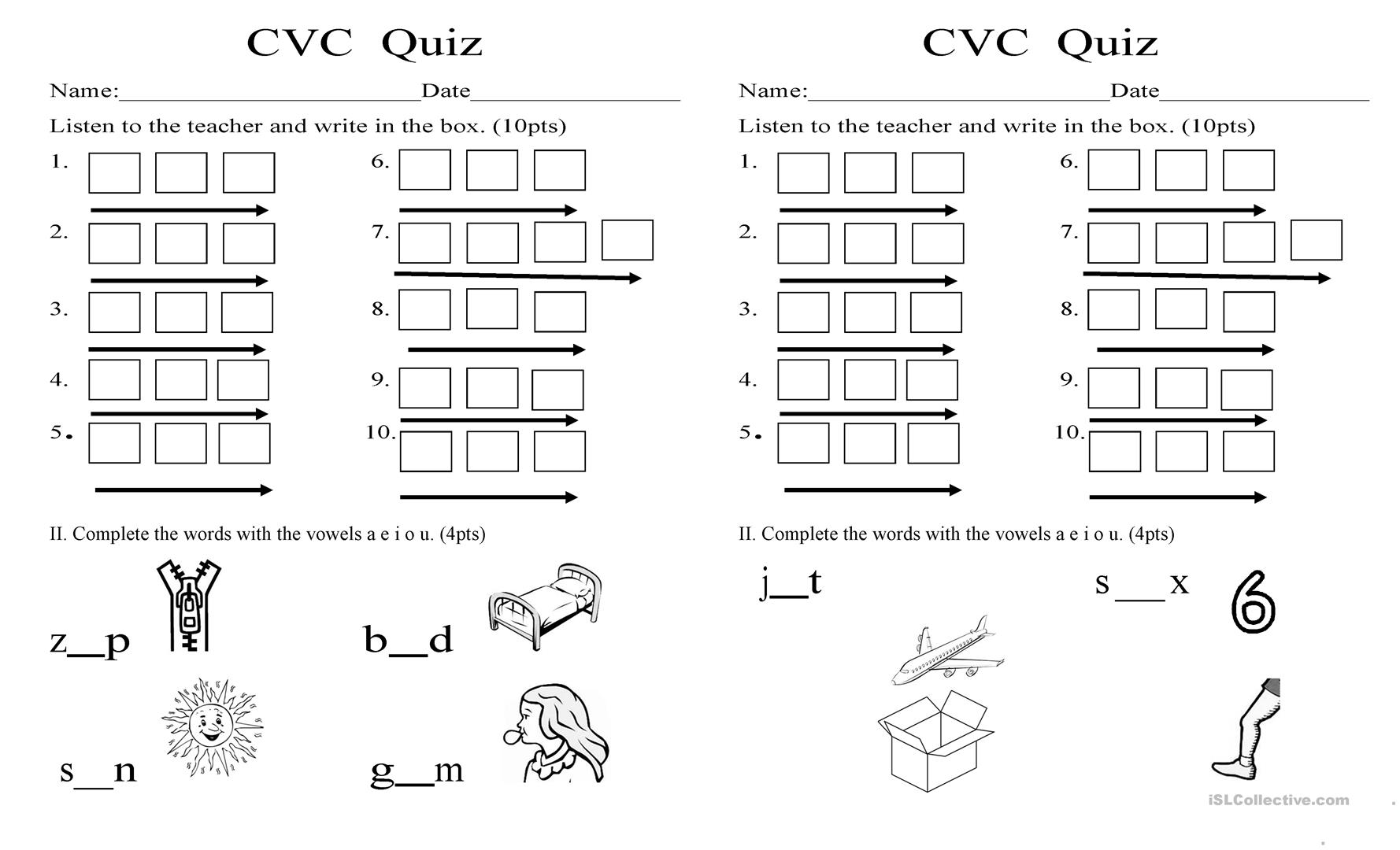 Cvc Short Vowels Worksheet