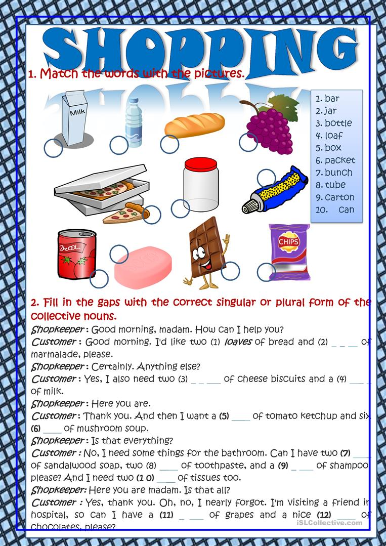 Shopping (Vocabulary In Context) - English ESL Worksheets for distance learning and physical classrooms
