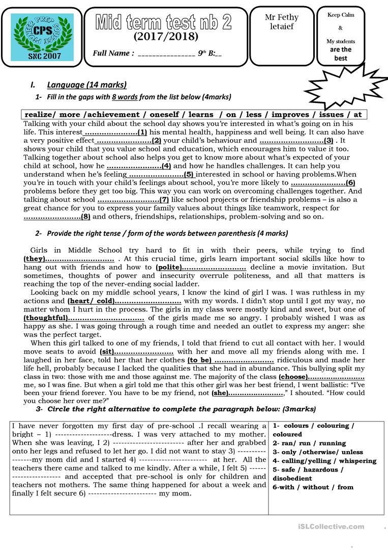 medium resolution of test 2 9th grade tunisia - English ESL Worksheets for distance learning and  physical classrooms