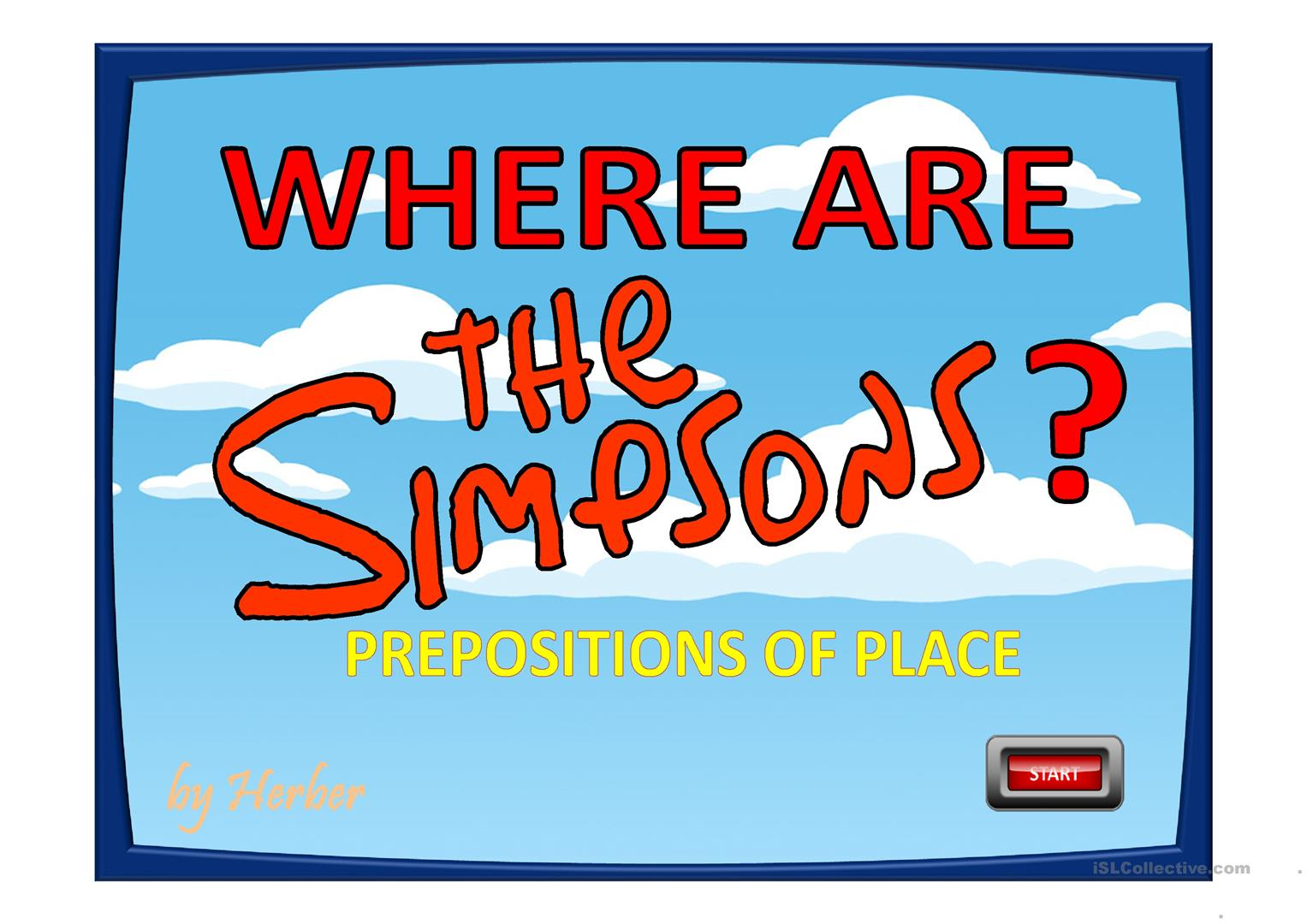 Where Are The Simpsons Worksheet