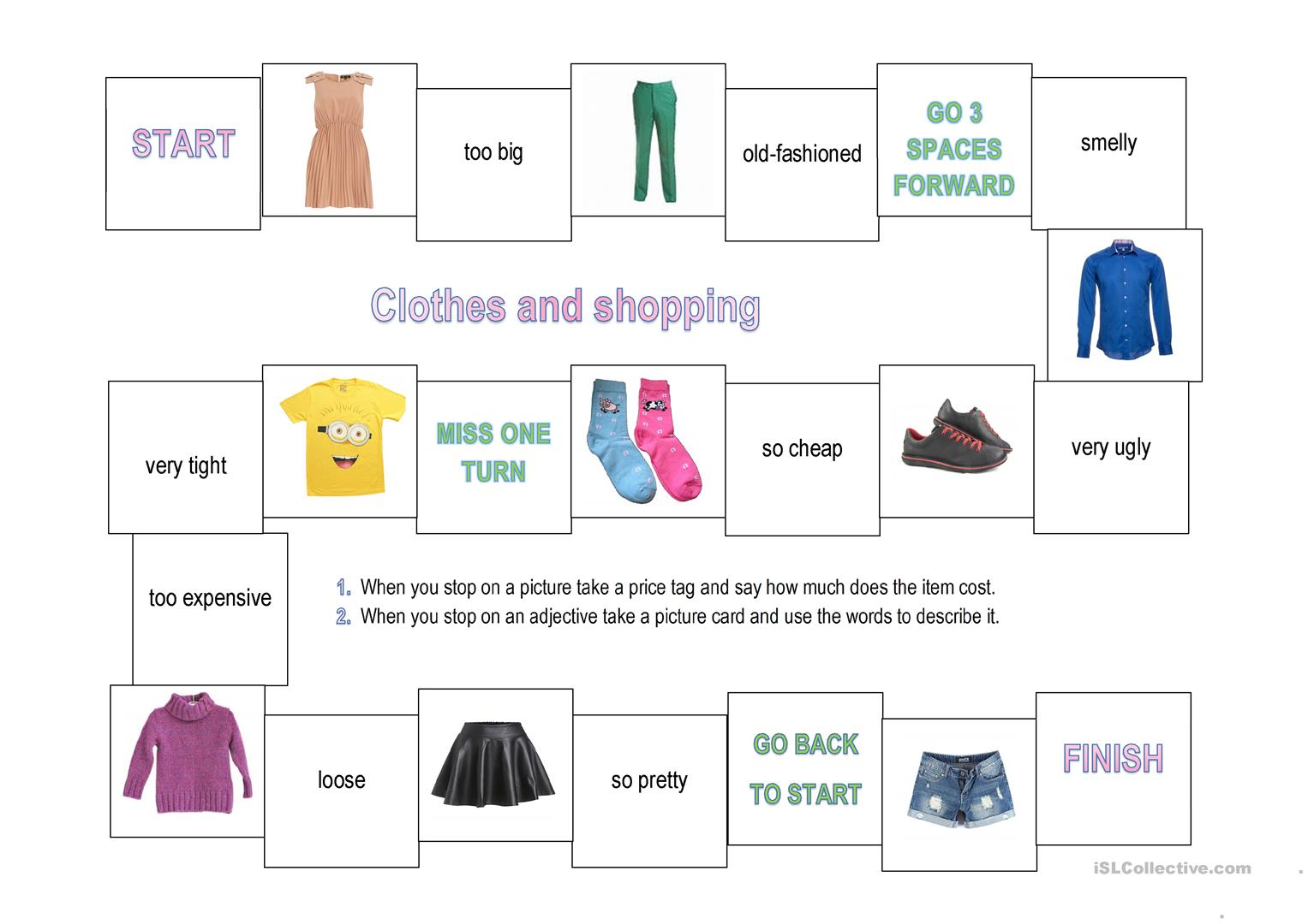 Clothes And Shopping Game With Cards And Price Tags