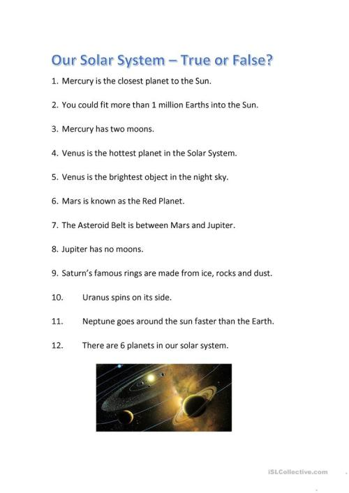 small resolution of Solar System Quiz - True or False? - English ESL Worksheets for distance  learning and physical classrooms