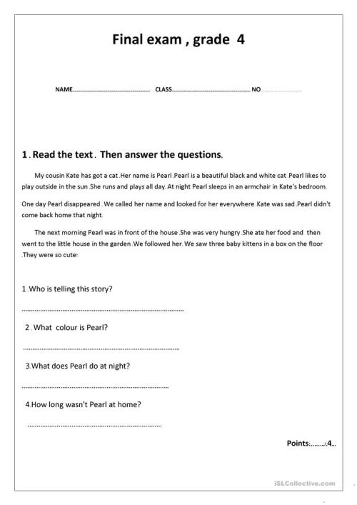 small resolution of final exam grade 4 - English ESL Worksheets for distance learning and  physical classrooms