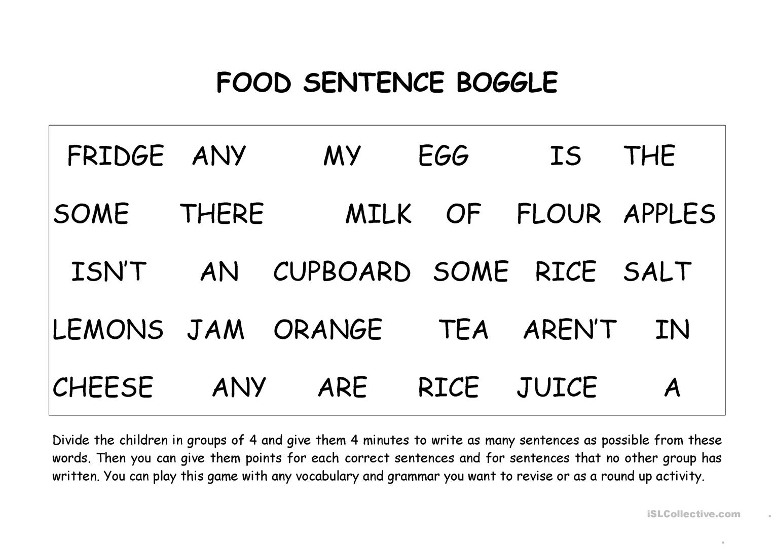 Food Boggle There Is Are Worksheet
