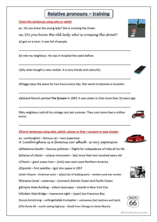 small resolution of Relative pronouns - training - English ESL Worksheets for distance learning  and physical classrooms